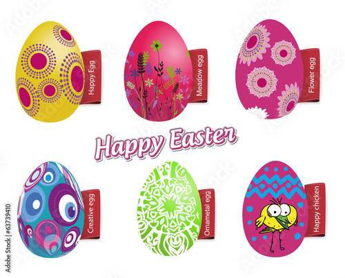 Happy easter color eggs with red labels, vector illustration