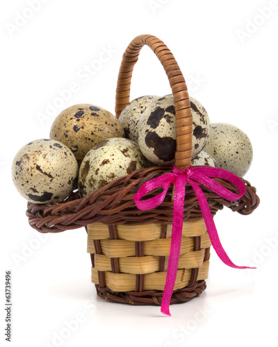 quail eggs in a festive basket