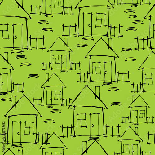 small house seamless pattern