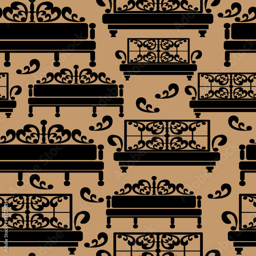 Sofas icons seamless pattern