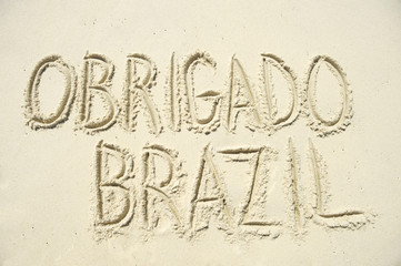 Obrigado Thank You Brazil Message in Sand
