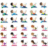 Fototapety People At Aerobics Class - Isolated On White Background