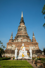 old big pagoda in mongkol temple at ayutthaya