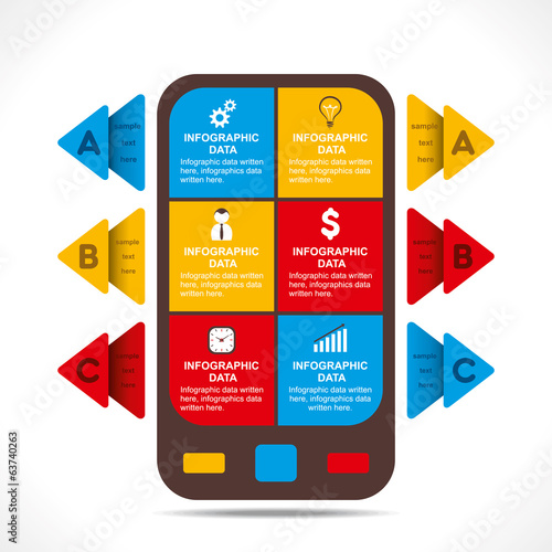 creative business mobile info-graphics design concept vector