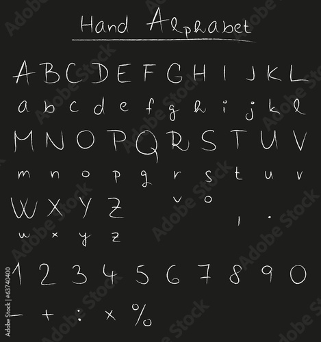 Handwritten alphabet on chalkboard