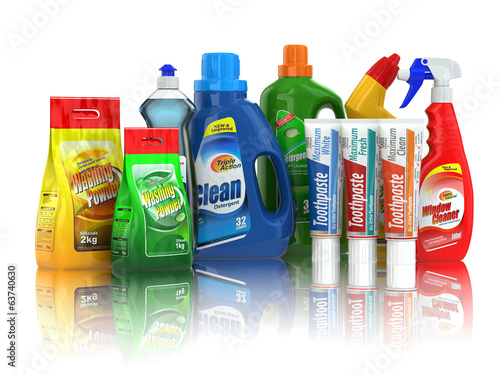 Cleaning supplies. Household chemical detergent bottles.