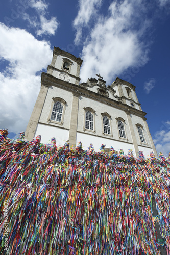 Wish Ribbons Blue Sky Bonfim Church Salvador Bahia Brazil