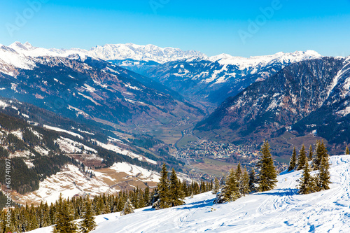 Ski resort Bad Gastein in winter snowy mountains, Austria