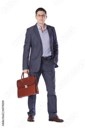 young man in a gray suit with a briefcase hands isolated