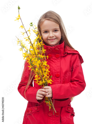 Little girl in spring time - isolated