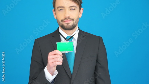 businessman with his id card