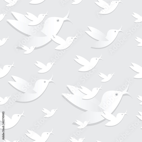 Bird seamless pattern on gray background.
