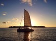 canvas print picture - sunset sailing boat, key west,