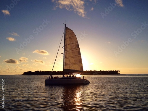canvas print picture sunset sailing boat, key west,