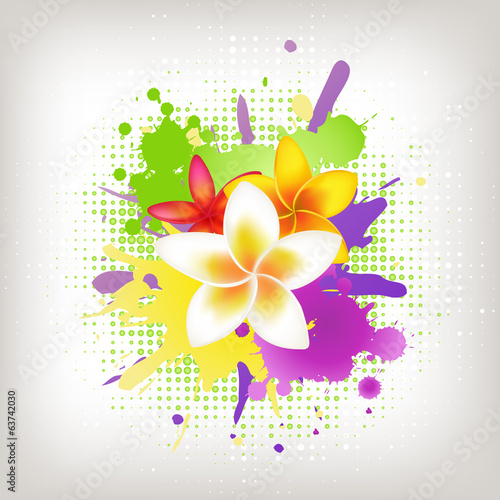 Background With Plumeria And Blots