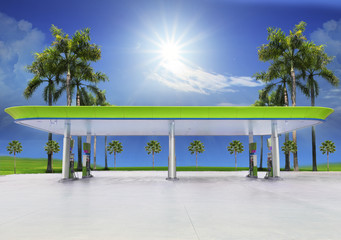 beautiful oil fuel gasoline service station under conception gre