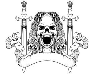double swords and skull vector