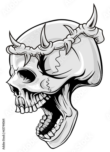 skull and crown of thorn