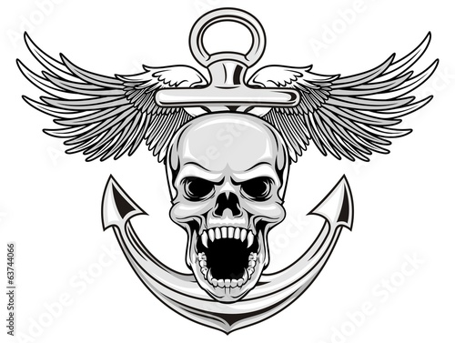 skull with wings and anchor