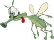 Green insect with red language. Cartoon