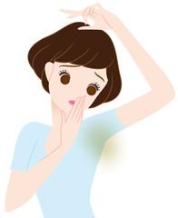 脇の臭いを気にする女性
