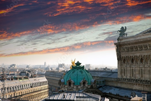 sunrise over Opera de Paris