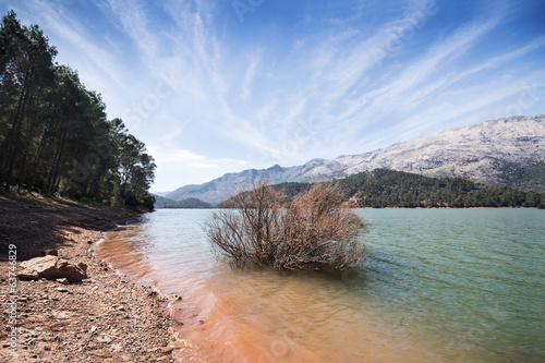 Beautiful lake view landscape in Cazorla National Park, Spain