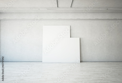 Bright interior with blank posters