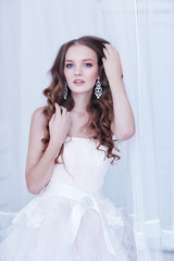 beautiful bride, long curly hair