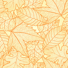 Autumn leaves seamless pattern.
