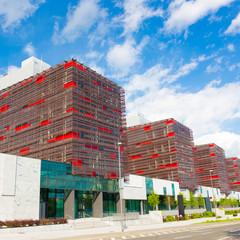 Modern office buildings.