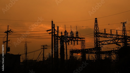 Power substation at sunrise, time lapse