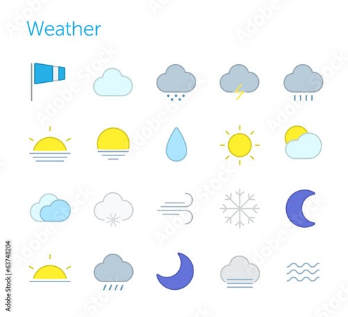 Weather icons. Simple set, vector illustration