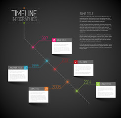 Infographic dark diagonal timeline report template