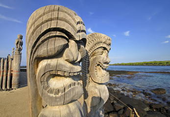 Ki'i Carving at Pu`uhonua O Honaunau on the Big Island, Hawaii