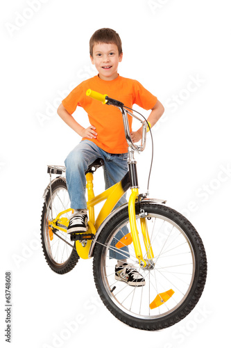 boy on bicycle on white