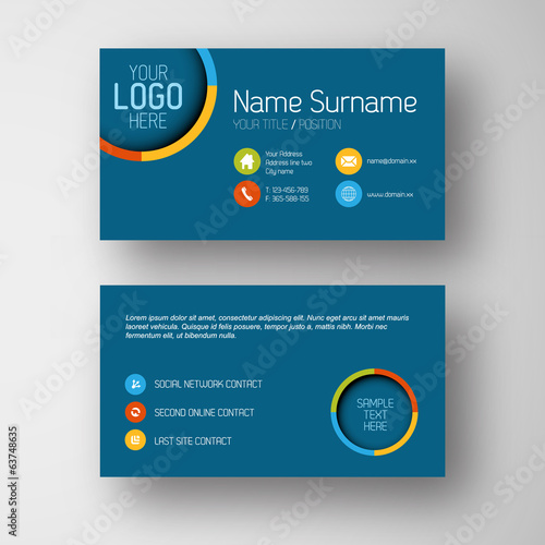 Modern blue business card template with flat user interface