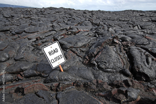 Closed Road sign on Lava Flow, Big Island, Hawaii