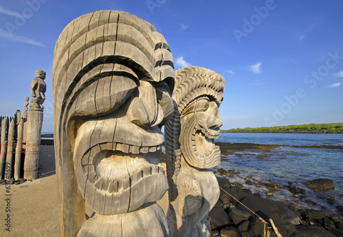 Poster Natuur Park Ki'i Carving at Pu`uhonua O Honaunau on the Big Island, Hawaii