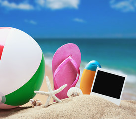 beach accessories and photos on the memory