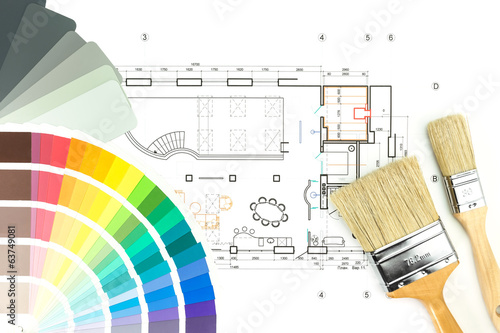 Architectural drawing with palette of colors and brushes