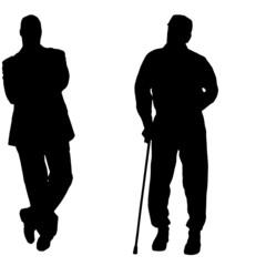 Vector silhouette of men.