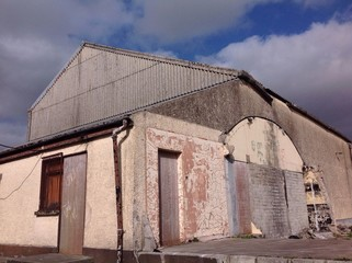 old abandoned cattle mart building in ireland