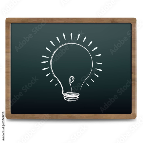 Black Chalk Board With Bulb Drawing Chalk