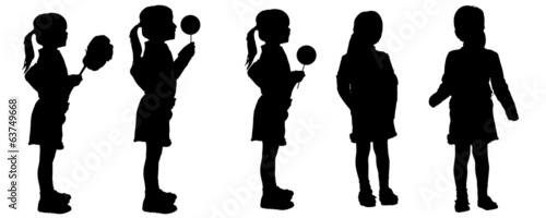 Vector silhouette of girl.