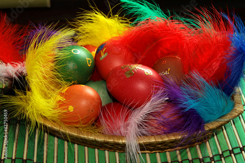 Easter eggs in a basket with colorful decorations