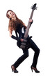 Beautiful girl with long red hair playing bass guitar