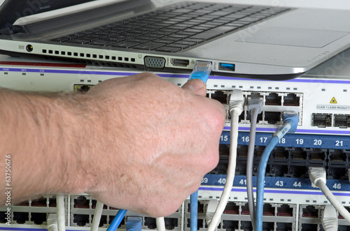 Server and wires during check-up