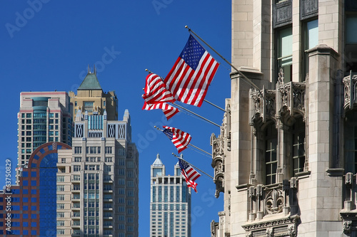Chicago buildings and flags