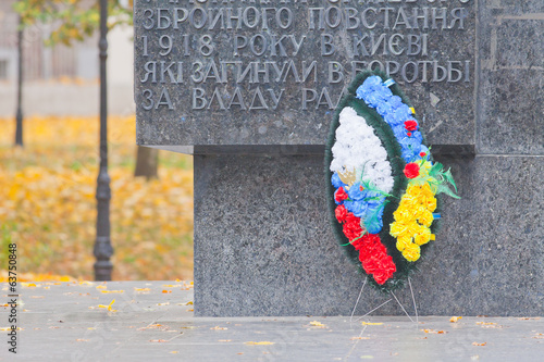 World War II memorial with wreath